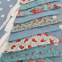 10 ft blue  cotton fabric bunting ,banner,wedding,event