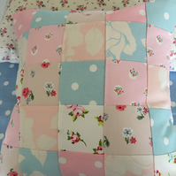 Patchwork cushion cover in Cath kidston fabrics