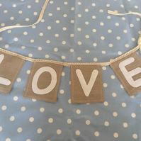 Hessian burlap wedding love bunting,banner with lace