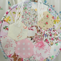 Large hexagon patchwork hanging hoop