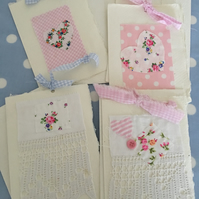 4 blank design cream handmade paper cards with fabric,lace & buttons