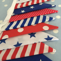 10 ft boys nautical red, blue, white cotton fabric bunting ,banner,wedding,event
