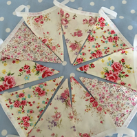 Shabby chic floral cotton fabric bunting, banner, wedding,party flags