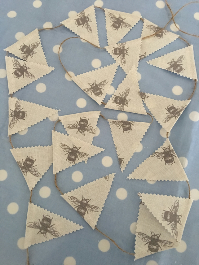 Teeny Tiny  mini bunting in Bees cotton fabrics and twine