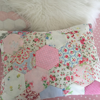 Shabby chic patchwork cushion