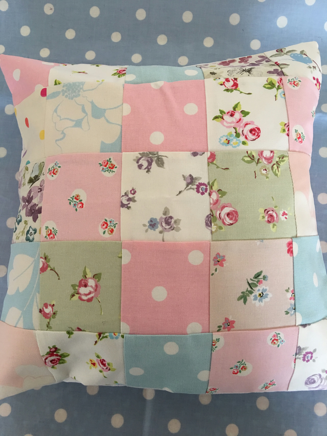 patchwork cushion cover in cath kidston clark folksy. Black Bedroom Furniture Sets. Home Design Ideas