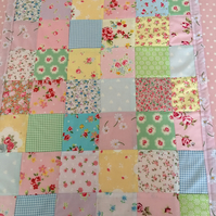 Patchwork baby quilt ,bedding,blanket with pink  fleece back