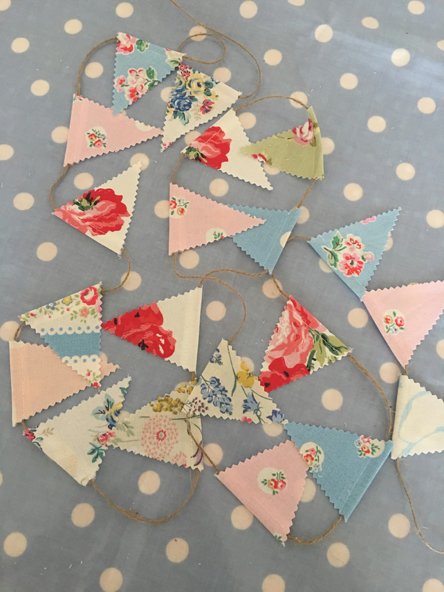 Teeny tiny cotton fabric bunting with twine