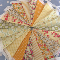 Yellow  cotton fabric bunting, banner, wedding,party flags