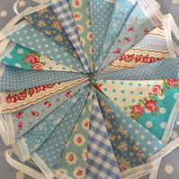 Shades of blue  cotton fabric bunting, banner, wedding,party flags