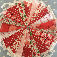 Shades of red  cotton fabric bunting, banner, wedding,party flags