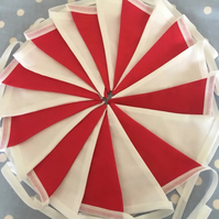 Red  & white England cotton fabric bunting