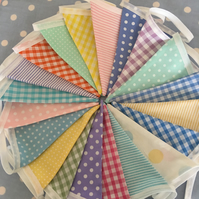 Summer cotton fabric bunting,banner, pennants, wedding,party flags