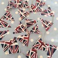 Teeny Tiny  mini bunting in Union Jack cotton fabric and twine