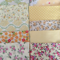 "5"" charm packs shabby chic yellow coloured cotton fabric patchwork squares"