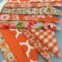 Shades of orange cotton fabric bunting wedding,party flags