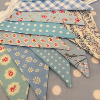 Shades of blue cotton fabric bunting wedding,party flags
