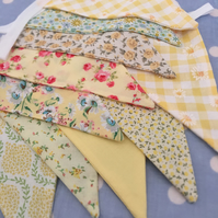 Shades of yellow cotton fabric bunting wedding,party flags