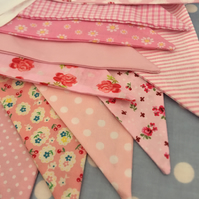 Shades of pink cotton fabric bunting wedding,party flags