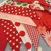 Shades of red cotton fabric bunting wedding,party flags