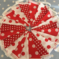 Vintage vibe red & white cotton fabric bunting wedding,party flags