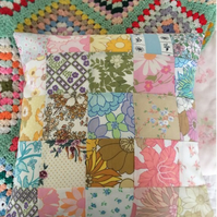 Vintage fabric  patchwork cushion cover
