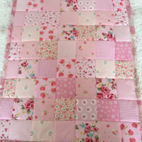 Pink Patchwork baby  pram blanket ,bedding,blanket  with pale pink  back