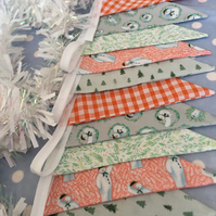Christmas bunting,The snowman cotton fabric bunting wedding,party flags