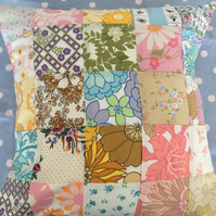 Patchwork cushion cover in vintage cotton fabrics