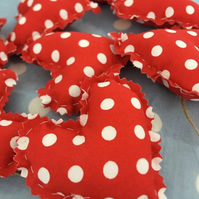 Red polka dot Heart garland with twine