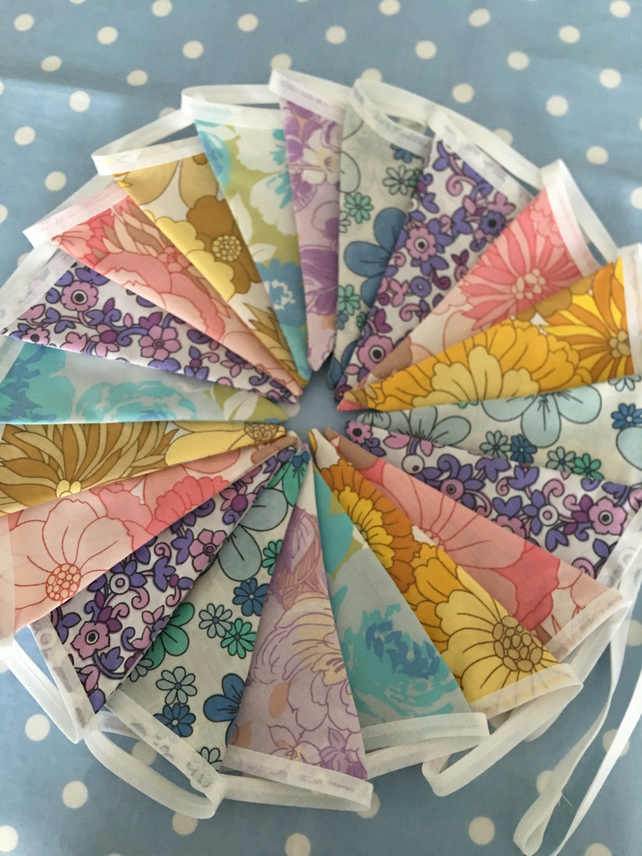 Vintage fabric bunting cotton fabric ,wedding,party flags