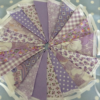 Shades of purple cotton fabric bunting wedding,party flags