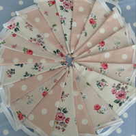 Cath Kidston Shabby chic cotton fabric bunting, banner, wedding,party flags