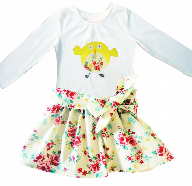 Floral Bird Outfit Skirt and T-shirt
