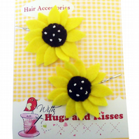 Girls Sunflower Hair Slides