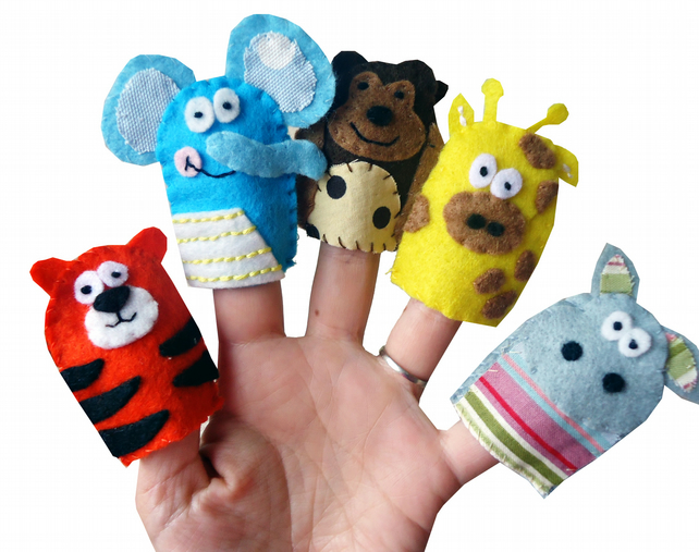 Jungle Animal Finger Puppets - Tiger, Elephant, Monkey, Giraffe and Hippo