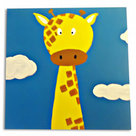Children's Giraffe Art - Jungle Animal Painting - Canvas - Nursery Decor