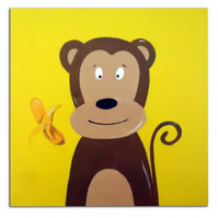 Children's Monkey Art - Jungle Animal Painting - Canvas - Nursery Decor