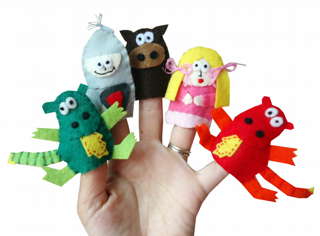Knight, Horse, Princess and Dragon Finger Puppets - Set of 5
