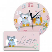 Pink and Blue Owl Clock and Door Sign Gift Set