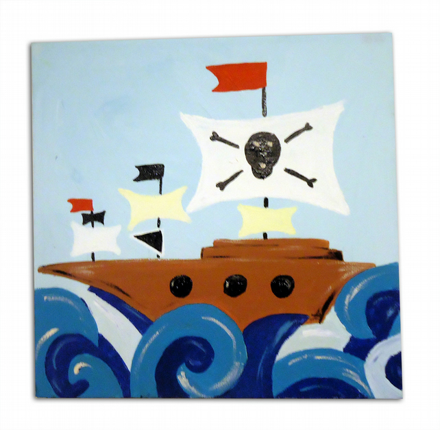 Children's Pirate Ship Art - Pirate Painting - Canvas - Nursery Decor