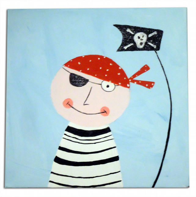 Children's Pirate Art - Pirate Painting - Canvas - Nursery Decor