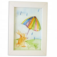 Bunny Original Watercolour Painting Childrens Nursery Art