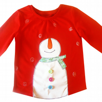 Girls Snowman Christmas T-shirt