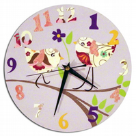 Purple Bird Clock