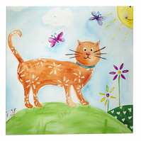 Cat Art Original Watercolour Painting Childrens Nursery Art
