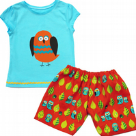 Kids Owl Outfit Shorts and T-shirt - Girls and Boys