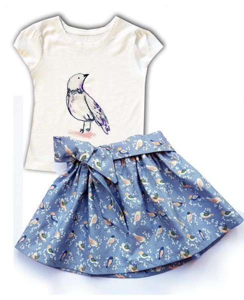 Purple Bird Outfit Skirt and T-shirt
