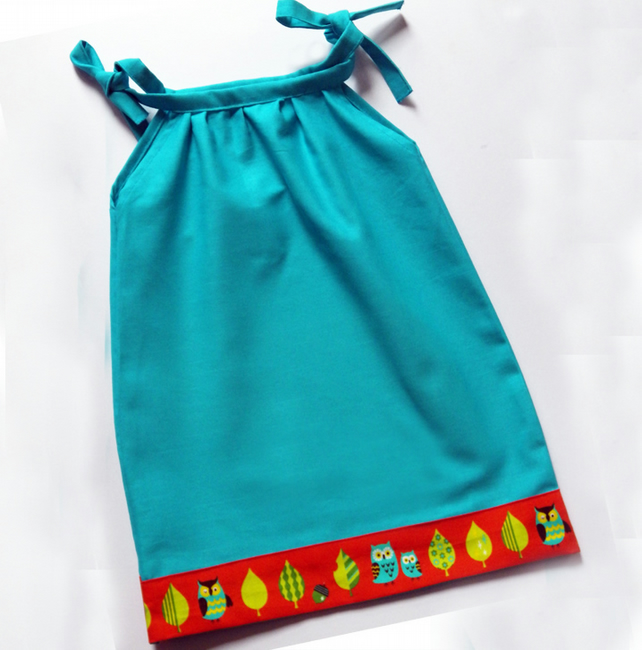 Girls Turquoise Owl Dress