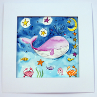Whale Original Watercolour Painting Childrens Nursery Art